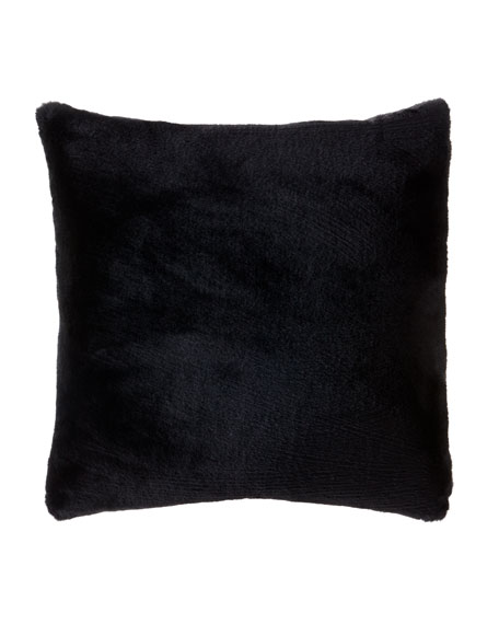 Dier Faux-Fur Square Pillow, Onyx