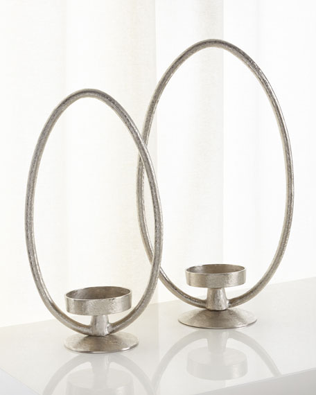 Suede Elliptical Pillar Candleholders, Set of 2