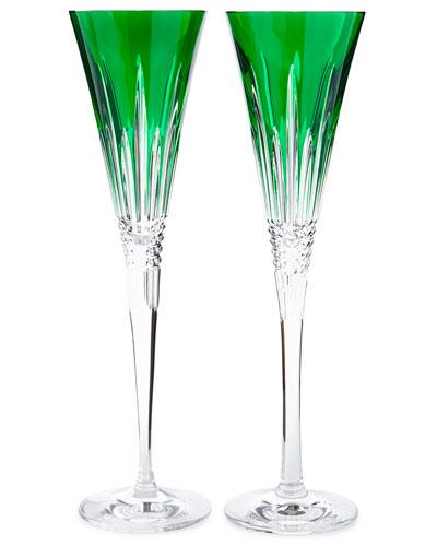 Lismore Diamond Toasting Flutes  Emerald  Set of 2
