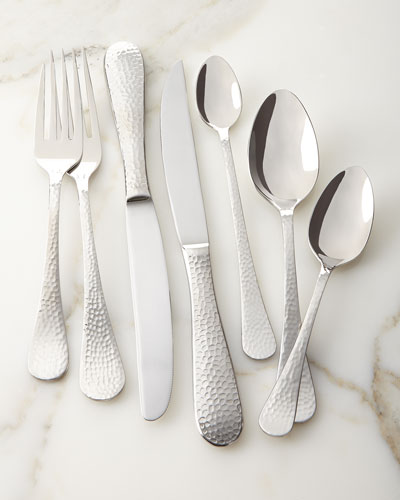 Euro Hammered 102-Piece Flatware Service
