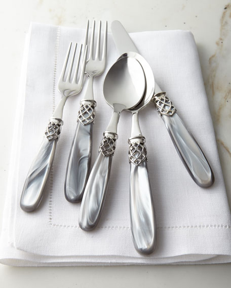 French Shine 20-Piece Flatware Service, Gray Pearl