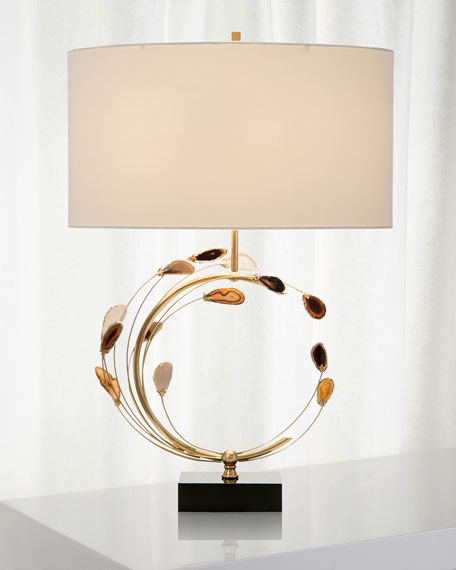 John-Richard Collection Swirling Agates in Brown and Brass