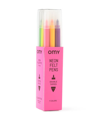 Fluorescent Colored Markers, Set of 9