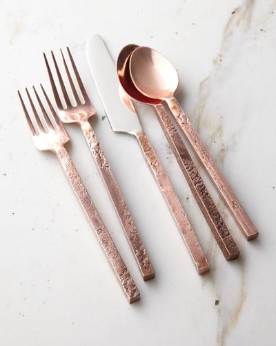 20-Piece Mala Flatware Set, Antiqued Copper