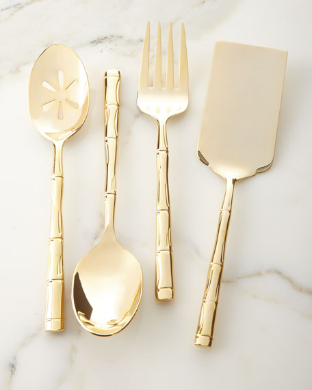 Gold Bamboo Pierced Serving Spoon