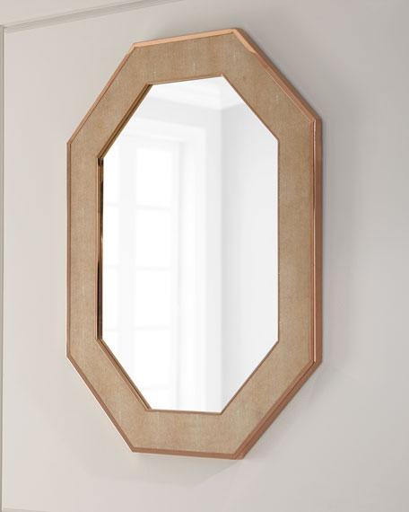 Octagon Faux-Shagreen Mirror
