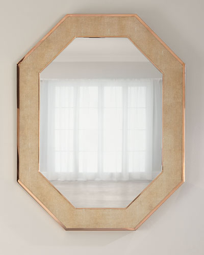 Octagon Faux-Shagreen Mirror