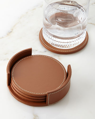Wyatt Leather Coasters  Set of 4