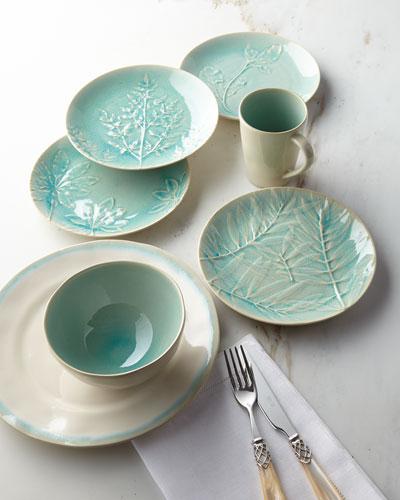 12-Piece Leaf Dinnerware Service  Aqua
