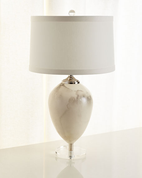 Floating Egg Table Lamp In Satin Marble Finish