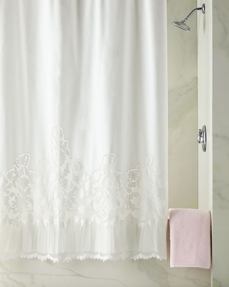 Caprice Shower Curtain, White