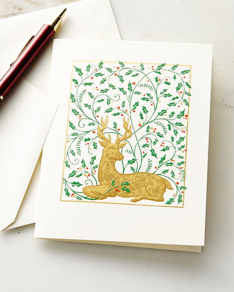 Reindeer and Holly Embossed Cards with Envelopes