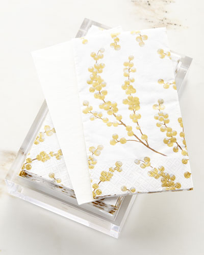 30 Guest Towels in Acrylic Holder - Gold Berry Branches