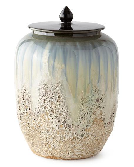 White and Smalt Blue Lidded Jar III