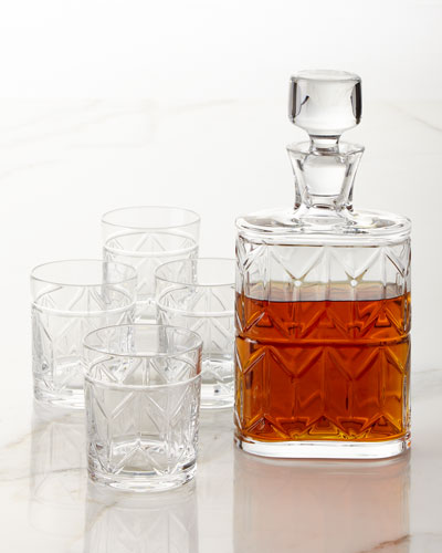 Avenue Whiskey Decanter and Four Double Old-Fashioneds