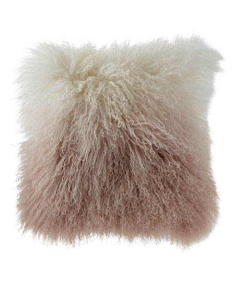 "Dip Dye Curly Sheepskin Pillow, 18""Sq."