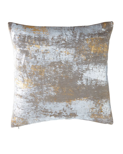 Distressed Metallic Velvet Pillow, 20
