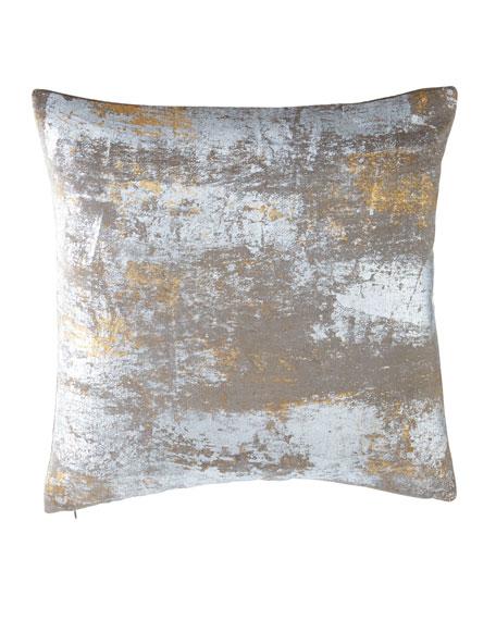 Distressed Metallic Velvet Pillow, 20