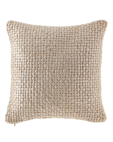 "Metallic Palm Basketweave Pillow, 18""Sq."