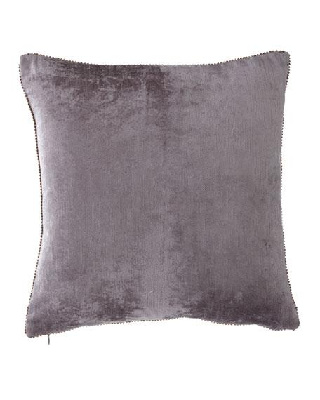 """Beaded-Edge Velvet Pillow in Gray, 18"""" Square"""