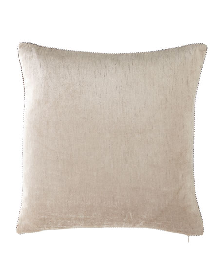 "Beaded-Edge Velvet Pillow in Ivory, 18"" Square"