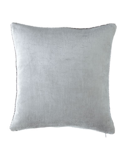 Beaded-Edge Velvet Pillow in Light Blue, 18