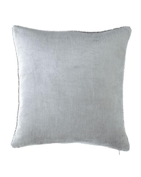 """Beaded-Edge Velvet Pillow in Light Blue, 18"""" Square"""