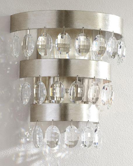 Crystorama Perla 2-Light Antiqued Silver Sconce