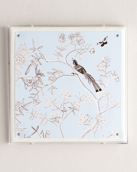 """Blue Chinoiserie IV"" Lucite Wall Art"