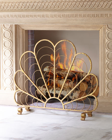 Italian gold iron shell decorative fireplace screen Decorative fireplace screens
