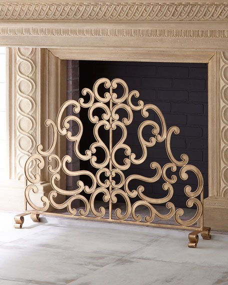 Antiqued Gold Iron And Told Double Scroll Single Panel Fireplace