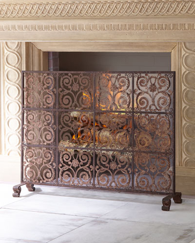 Brown Taupe Iron Tile Fireplace Screen