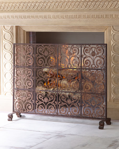 Dr. Livingston Brown Taupe Iron Tile Fireplace Screen