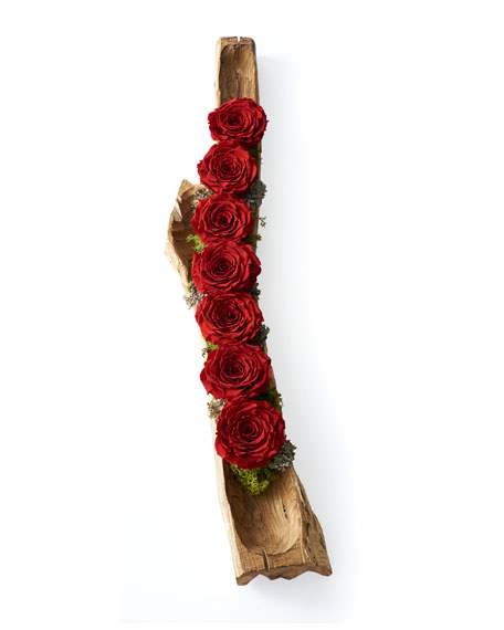 Preserved Roses in Wood Log