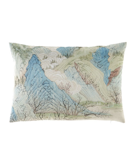 Blue Green Hillside Lumbar Pillow