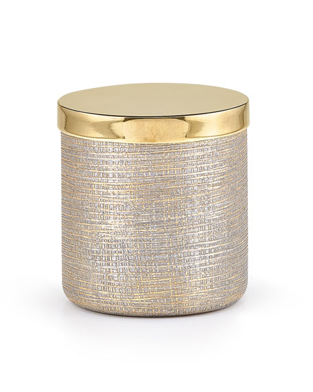 Woven Metallic Canister with Golden Polished Lid