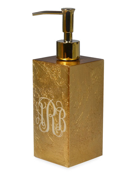 Eos Monogram Box Pump, Gold