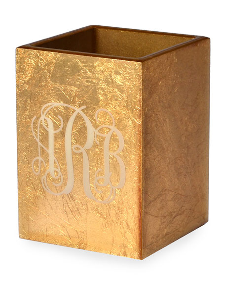 Eos Monogram Wood Brush Holder, Gold