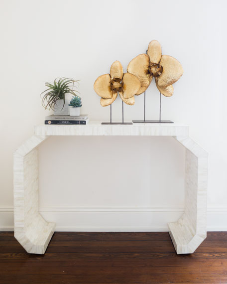 Cadyna Natural Bone Console Table with Faceted Legs