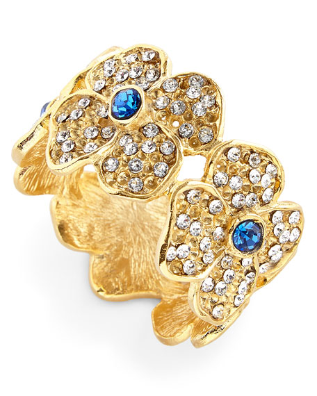 Daisy Flower Napkin Rings with Blue Crystal Center,