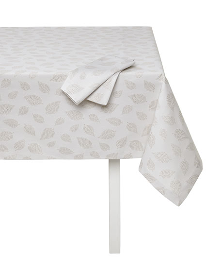 """Ivy Tablecloth with Metallic Leaves, 66"""" x 144"""""""