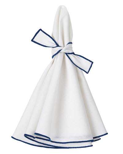 Napa Napkins with Colorful Hems and Matching Bows  Set of 4