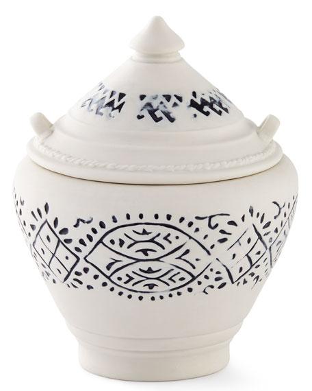Lakki Covered Porcelain Vanity Jar, Blue