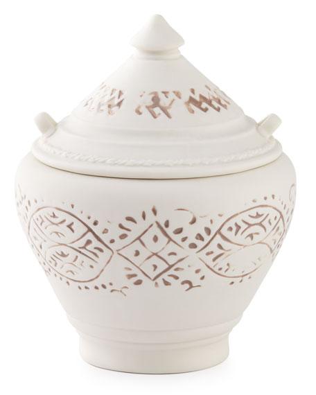 Lakki Covered Porcelain Vanity Jar, Taupe