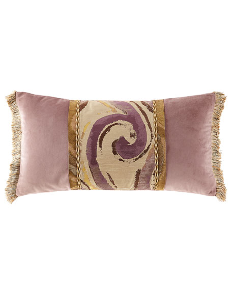 Wisteria Scroll Oblong Pillow with Brush Fringe
