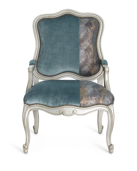 Lyle Velvet & Leather Bergere Chair