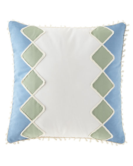 "Celerie Kemble Sail Celadon Diamonds Pillow, 20""Sq."