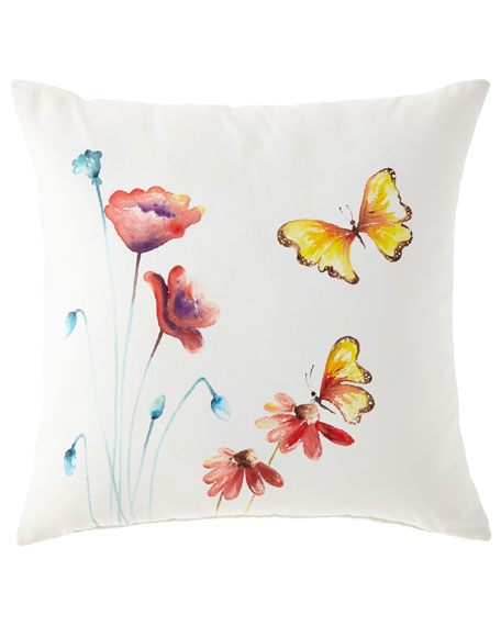Hand-Painted Butterfly Pillow, 22