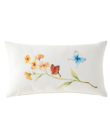 Hand-Painted Butterfly Lumbar Pillow, 15