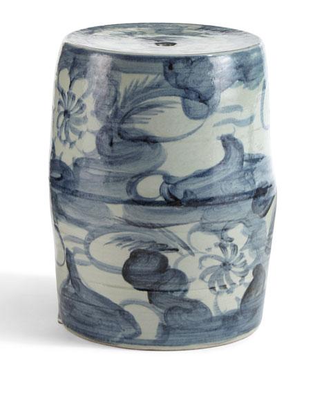 Garden Stool, Blue/White